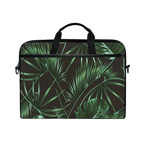 AHOMY Green Tropic Palm Leaf 15 Inch Canvas Laptop Shoulder Sleeve Messenger Bag Case With Handle, 14 to 15 Inch Notebook / Tablet Briefcase