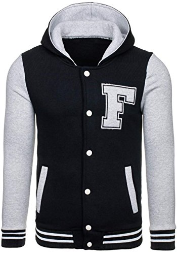 Cappuccio Uomo Bottoni Baseball – Motivo Jacket Con Nero Giacca Bolf Hoodie 4d4 Aqwtzg1zT