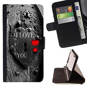 BullDog Case - FOR/Sony Xperia Z2 D6502 / - / I Love You Lock /- Monedero de cuero de la PU Llevar cubierta de la caja con el ID Credit Card Slots Flip funda de cuer