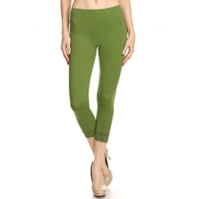 Ambiance Solid Seamless Stretchable Capri Under Knee Leggings with Lace DetailM/L Lt. Olive at Women's Clothing store