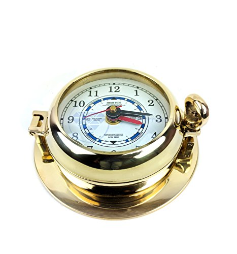Solid Brass Nautical Port Hole Tide Clock | Polished Shiny Clock | Nagina International