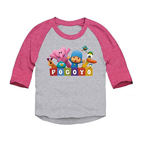 Pocoyo - Pocoyo Logo With Friends Toddler 3/4 Sleeve T-Shirt (Heather / Pink, 3T)