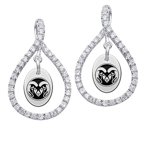 Colorado State Rams Sterling Silver and White CZ Figure 8 Style Earrings by College Jewelry