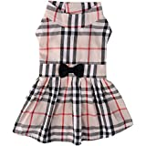 PUPTECK Classic Plaid Dog Dress Cute Puppy Clothes Outfit...
