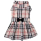 PUPTECK Classic Plaid Dog Dress Cute Puppy Clothes Outfit Small