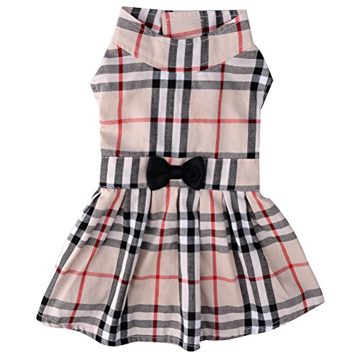 PUPTECK Classic Plaid Dog Dress Cute Puppy Clothes Outfit Small ¡­]()