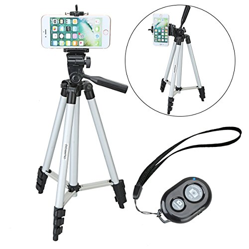 DIGIANT iPhone Tripod, 50 Inch Aluminum Camera Tripod, Travel Tripod for Cellphone+ Universal Phone Tripod Mount for Smartphones+ Wireless Bluetooth Shutter Remote Control