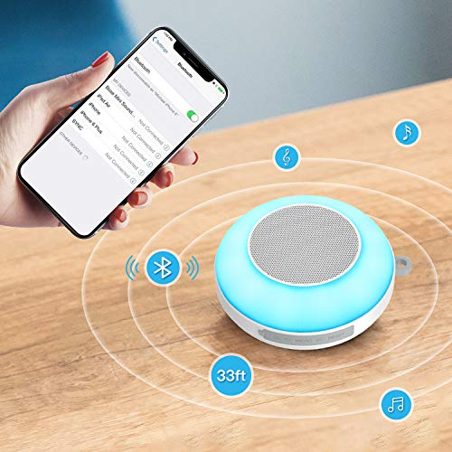 Waterproof Bluetooth Speaker, Ranipobo Shower Speaker, Touch Control 3 Warm Light & 7 Colors Night Light, Portable Wireless Speaker with HD Sound/8H Play/FM/Hands-Free, for Home/Outdoor Travel