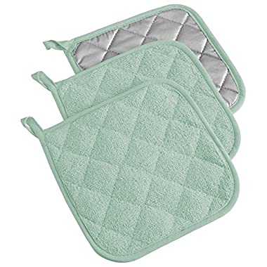 DII 100% Cotton, Machine Washable, Heat Resistant, Everyday Kitchen Basic, Terry Potholder, 7 x 7 , Set of 3, Mint