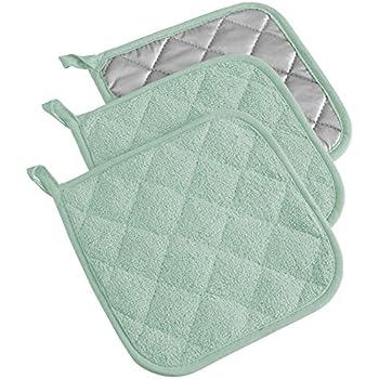 DII 100% Cotton, Terry Pot Holder Set Machine Washable, Heat Resistant, 7 x 7, Mint, 3 Piece