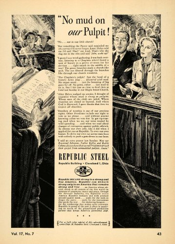 1952 Ad Republic Steel Industrial Metal Church Service   Original Print Ad