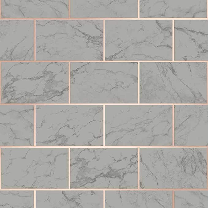 Crown 3D Effect Brick Tile Wallpaper Charcoal Marble Rose Gold Metallic Vinyl
