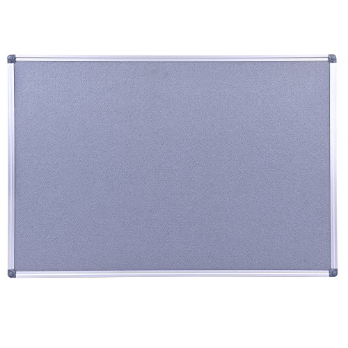 Aluminum Framed Wall- Mounted 48 x 36 Inch Large Fabric Bulletin Board Message Memo Pin Board for Home Office School, Grey by DexBoard (Image #1)'