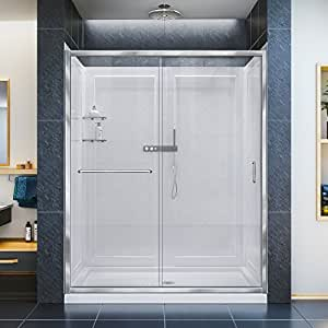 DreamLine Infinity-Z Shower Door, 34-Inch by 60-Inch Shower Base Center Drain and QWALL-5 Shower Backwall Kit, DL-6118C-01CL, Chrome Finish