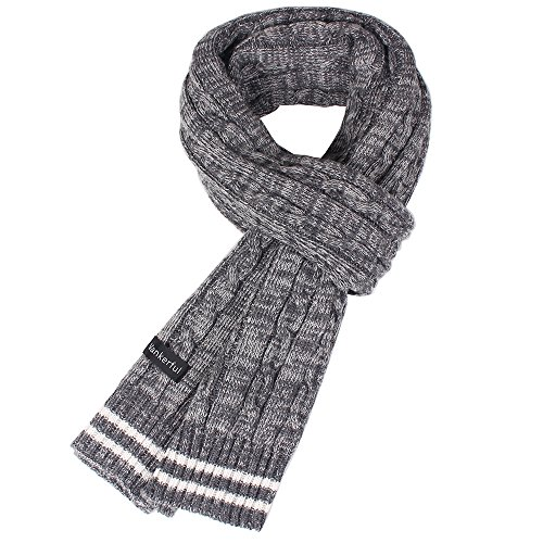 Vankerful Unisex Wool Knit Scarves Thick Warm For Cold Winter Striped Soft Mens Braided Acrylic Wrap DFS096 (Mens Wool Knit Scarf)
