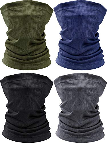 4 Pieces Summer Face Scarf Mask Dust Sun Protection Thin Breathable Neck Gaiter Windproof Running Fishing Cycling Cool Bandana (Color Set 1)