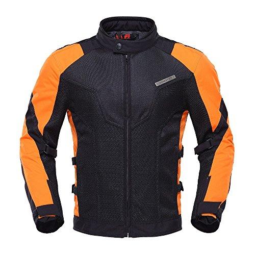 Men's Air Mesh Motorcycle Jacket (Orange, Medium)