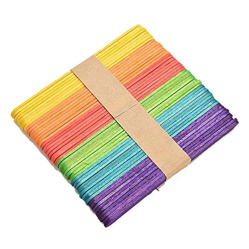 SQingYu Pack of 50 pcs Wooden Popsicle Sticks Jumbo, Kids DIY Crafts Cream Making Sticks Toy,Multi Color