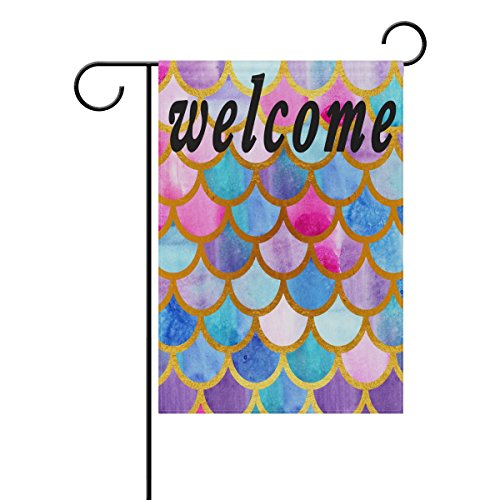 WXLIFE Mermaid Scales Garden Flag 12 X 18 Inches, Double Sided Outdoor Yard Yall Welcome Garden Flag for Wedding Party House Home Decor