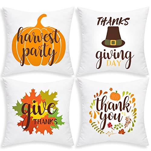 BLEUM CADE Set of 4 Autumn Pumpkin Throw Pillow Cover Fall Pillow Covers Maple Leaves Cushion Covers 18 X 18 Inch for Autumn Halloween Thanksgiving Day -