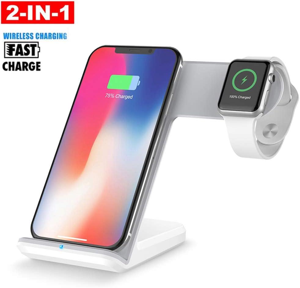 CHARGER DOCK Estación de Carga del teléfono con Cargador rápido inalámbrico Qi 2 en 1 para Apple Watch iWatch iPhone 8 iPhone X y Todos los Dispositivos Qi-Standard: Amazon.es: Deportes y aire