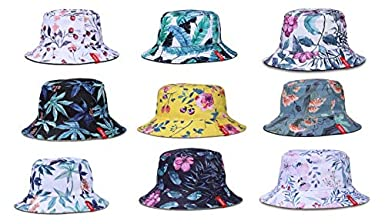 SYcore Cotton 3D Printed Unisex Packable Reversible Outdoor Sun hat Fisherman Bucket Cap Many Patterns Beach Hats
