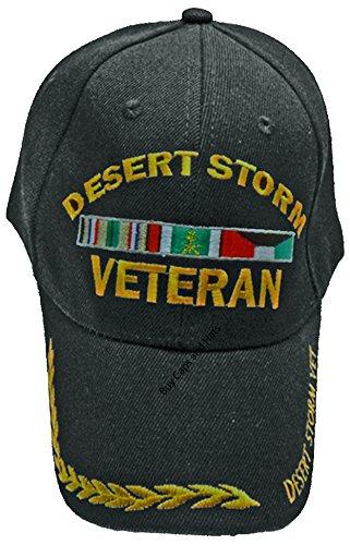 Desert Storm Veteran Baseball Cap, Black Vet Hat w/Wreath Mens Womens