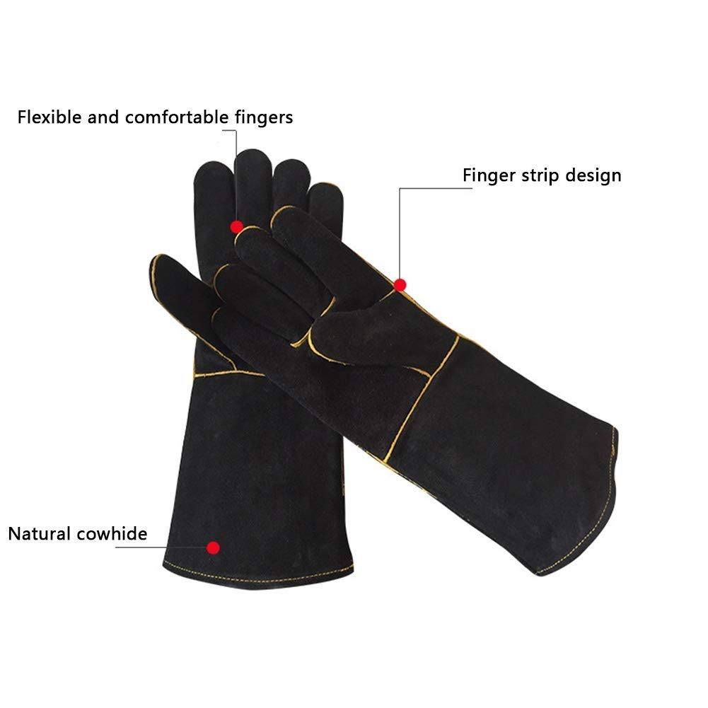 IRVING Outdoor welding leather gloves household barbecue BBQ microwave oven insulation gloves anti-scalding high temperature protective gloves by IRVING (Image #3)