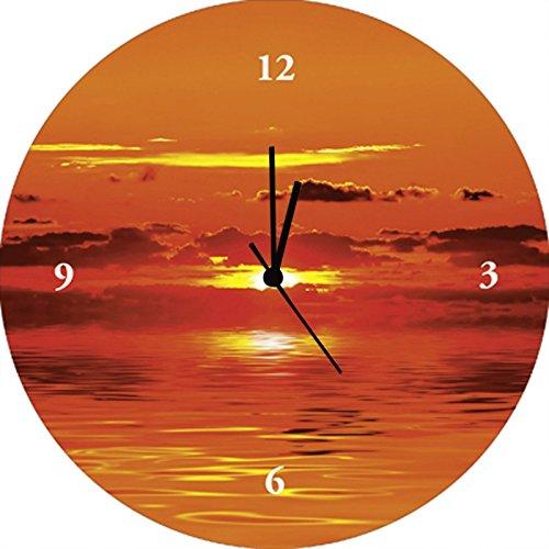 Artland Qualitätsuhren I Funk Wanduhr Designer Uhr Glas Funkuhr Größe: 35 Ø Himmel Orange G3HZ