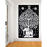 Indian Elephant Tree Tapestry ,Good Luck White Elephant Tapestry , Hippie Gypsy Wall Hanging , ...
