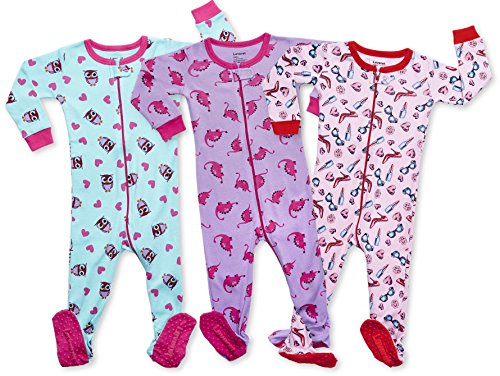 Leveret Baby Girls Footed Pajamas Sleeper 100% Cotton Kids   Toddler Pjs (3  Months f71d88876