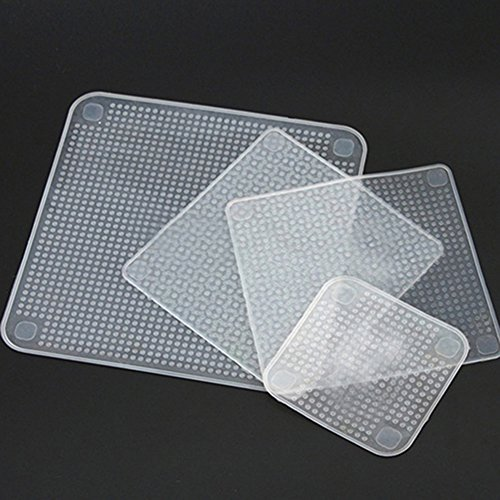 4 Pcs Clear Square Silicone Stretch Lids Reusable Food Wrap Seal Covers Food Saver Storage Covers for Bowls Pots Cups Food Safe