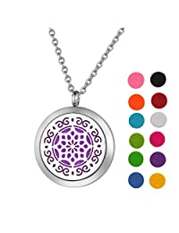 Stainless Steel Aromatherapy Essential Oil Diffuser Necklace with Eddy/Lotus for Women,Silver Tone