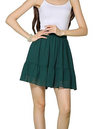 DianShao Falda Plisada para Mujer Sólido Cintura Alta Mini Falda ...