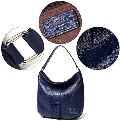 Bostanten Mujer Bandolera Cuero Claro Hombro Azul Bolsa Para De Genuino Mano Bolso qtOrt