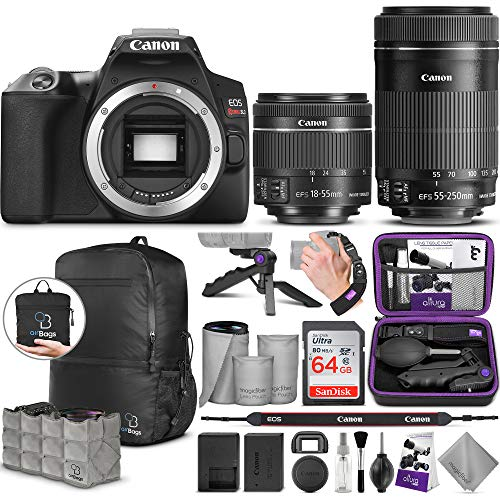 Canon EOS Rebel SL3 DSLR Camera and EF-S 18-55mm f/4-5.6 is STM + Canon EF-S 55-250mm f/4-5.6 is STM Lens with Altura Photo Advanced Accessory and Travel Bundle