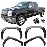 Fender Flares Fits 1999-2006 Chevy Silverado | OE Style Black Polypropylene (PP) Front Rear Right Left Wheel Cover Protector Vent Trim by IKON MOTORSPORTS | 2000 2001 2002 2003 2004 2005
