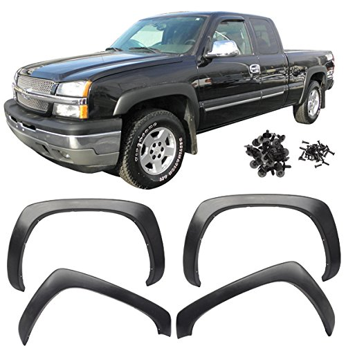 Fender Flares Fits 1999-2006 Chevy Silverado | OE Style Black Polypropylene (PP) Front Rear Right Left Wheel Cover Protector Vent Trim by IKON MOTORSPORTS |  2000 2001 2002 2003 2004 2005 (Right Rear Fender Flare)