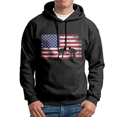 (Men American Flag Wrestling Wrestling Gift Fashion Pullover Hoodie Hooded Sweatshirt With Drawstring M)