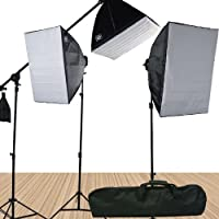 Fancierstudio FL9060S4 3800 Watt Softbox Video Lighting Kit Light Kit With Carrying Case