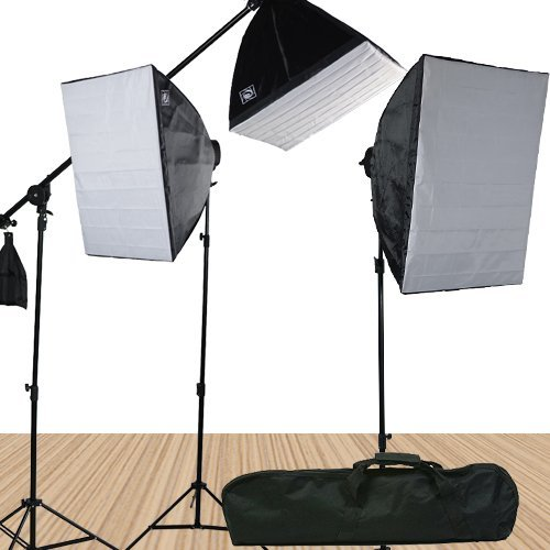Fancierstudio 3800 Watt Softbox Video Lighting Kit Light Kit With Carrying Case By Fancierstudio FL9060S4 by Fancierstudio