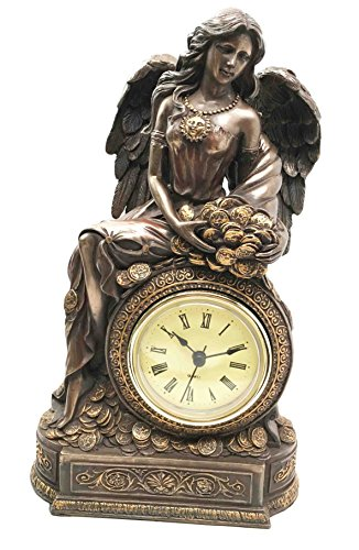Greek Goddess of Luck & Wealth Lady Fortuna Table Clock Figurine Desktop Decor
