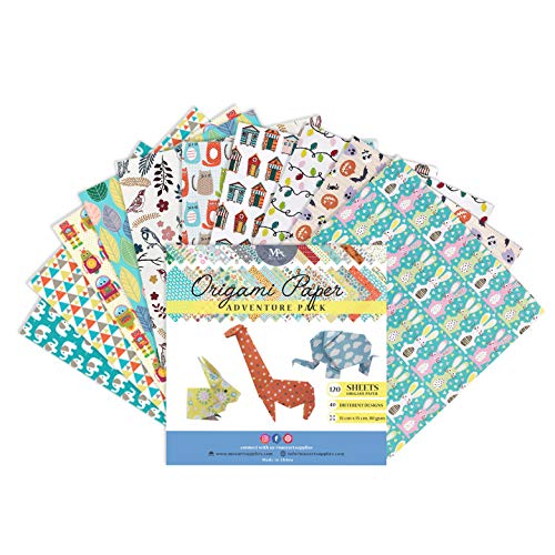MozArt Supplies Origami Paper Adventure Pack - 120 Sheets - Traditional Japanese Folding Paper - Floral, Animal Prints, Aztec, Geometric - Create Flowers, Birds, Animals - Origami Papers Kids & Adults
