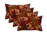 RSH Décor Set of 4 Indoor/Outdoor Lumbar Rectangular Throw Pillows (12''x20'') Montfleur Sangria