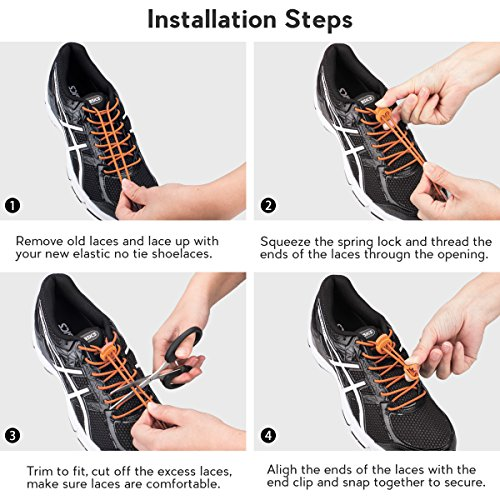 with for No Lock Climbing Reflective Running Laces Quick Elastic Running Lacing and 3 Shoe Pairs Shoelaces Adults Hiking Orange for Tie Shoes System Kids 8wq510Az