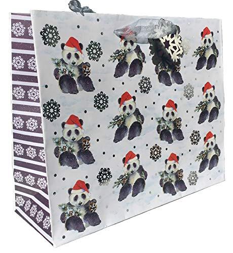 Punch Studio Santa Hat Panda Horizontal Silver Foil Embellished Gift Bag with Tag, Large -