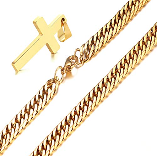 Q&S Jewels Gold Cross Pendant Necklace 3.5 mm Diamond Cut Mens Cuban Links Curb Chain Necklace 18K Plated Stainless Steel Fashion Jewlery for Men Wowen Girl Boy 22
