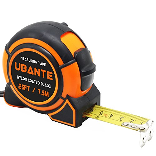 UBANTE Measuring Tape Measure 1-Inch x 25-Foot(7.5m) Retractable Heavy Duty with Magnetic Hook, Metric and Inches Measurement - Professional Ruler For Carpenter, Construction, DIY Measurement ()