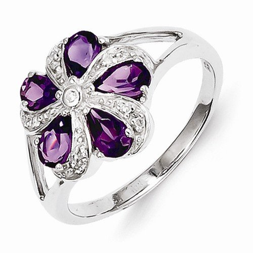 925 Sterling Silver Violet Purple February Simulated Birthstone Simulated Amethyst Diamond Engagement Ring (.04 cttw.) (2mm)