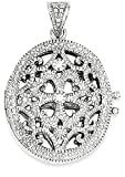 ICE CARATS 925 Sterling Silver Cubic Zirconia Cz Photo Pendant Charm Locket Chain Necklace That Holds Pictures Oval Fine Jewelry Gift Set For Women Heart